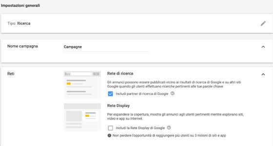 Impostazioni Reti Google Ads