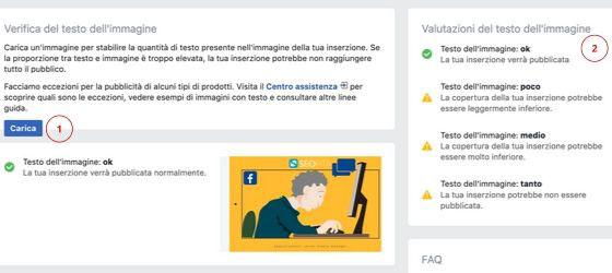 Verifica del testo immagini Facebook